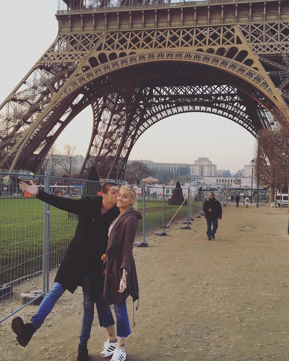 """<p>They'll always have Paris! Paris Jackson and her now ex-boyfriend Michael Snoddy posed beneath the Eiffel Tower in January. She dumped him by February. (Photo: <a rel=""""nofollow noopener"""" href=""""https://www.instagram.com/p/BPXxhXRDsvY/"""" target=""""_blank"""" data-ylk=""""slk:Paris Jackson via Instagram"""" class=""""link rapid-noclick-resp"""">Paris Jackson via Instagram</a>)<br><br></p>"""