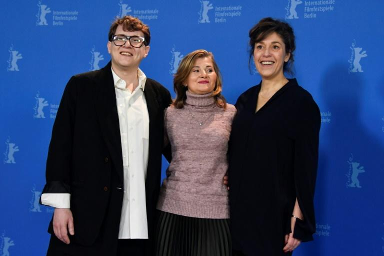 """When conceptual chaos collides with real chaos, it is difficult,"" said Khrzhanovsky, left, shown with actress Natalia Berezhnaya, centre, and co-director Jekaterina Oertel"
