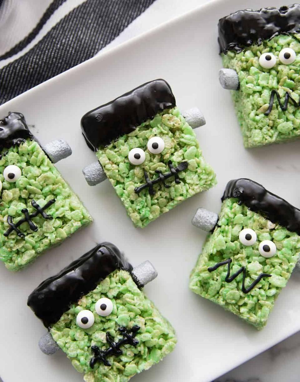 """<p>How adorable are these Frankenstein-inspired sweet treats? Silver-sprayed marshmallows and candy eyeballs are the perfect finishing touches.</p><p><strong>Get the recipe at <a href=""""https://prettyprovidence.com/frankenstein-rice-krispie-treats/"""" rel=""""nofollow noopener"""" target=""""_blank"""" data-ylk=""""slk:Pretty Providence"""" class=""""link rapid-noclick-resp"""">Pretty Providence</a>.</strong></p><p><strong><a class=""""link rapid-noclick-resp"""" href=""""https://go.redirectingat.com?id=74968X1596630&url=https%3A%2F%2Fwww.walmart.com%2Fbrowse%2Fhome%2Fbakeware%2Fthe-pioneer-woman%2F4044_623679_8455465&sref=https%3A%2F%2Fwww.thepioneerwoman.com%2Ffood-cooking%2Fmeals-menus%2Fg32110899%2Fbest-halloween-desserts%2F"""" rel=""""nofollow noopener"""" target=""""_blank"""" data-ylk=""""slk:SHOP BAKEWARE"""">SHOP BAKEWARE</a><br></strong></p>"""