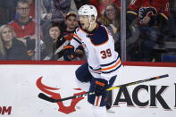 Edmonton Oilers' Alex Chiasson celebrates his goal against the Calgary Flames during the first period of an NHL hockey game Saturday, Nov. 17, 2018, in Calgary, Alberta. (Jeff Macintosh/The Canadian Press via AP)