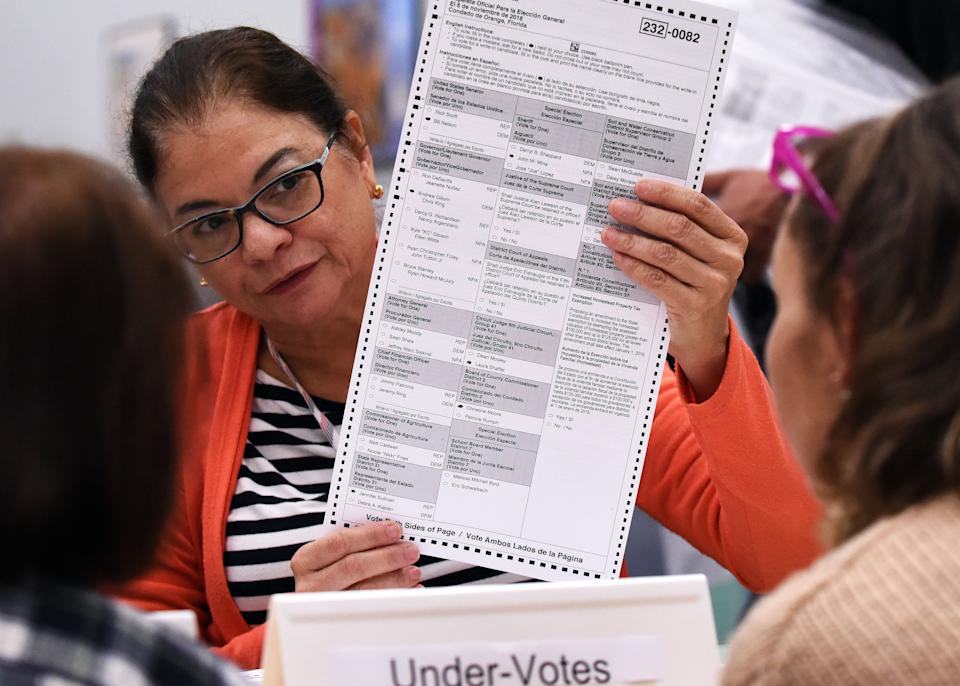 Election workers perform a manual recount of ballots on November 16, 2018 at the Orange County Supervisor of Elections Office in Orlando, Florida. (Paul Hennessy/NurPhoto via Getty Images)