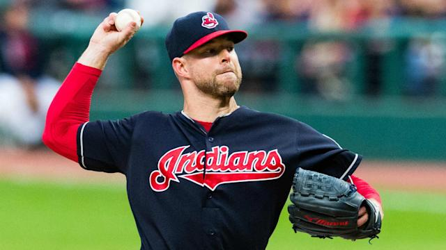 Corey Kluber struck out 10 Houston Astros in seven innings on Saturday, allowing two runs on six hits.