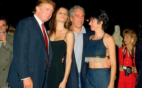 Donald Trump, Melania Trump, Jeffrey Epstein, and Ghislaine Maxwell at Mar-a-Lago club in 2000 - Credit: Davidoff Studios/Getty Images