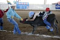 Raymond Norris, 45, rides a steer while competing in the Wild Drag Race at the International Gay Rodeo Association's Rodeo In the Rock in Little Rock, Arkansas, United States April 25, 2015. REUTERS/Lucy Nicholson
