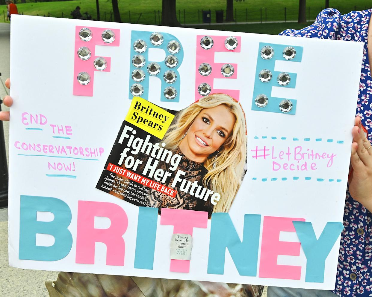 Signs at the #FreeBritney Rally at the Lincoln Memorial in July  in Washington, D.C. The #FreeBritney movement seeks an end to a conservatorship of the singer managed by her father, Jamie Spears, and Jodi Montgomery, which controls her assets and business dealings, following her involuntary hospitalization for mental care in 2008. (Shannon Finney/Getty Images)