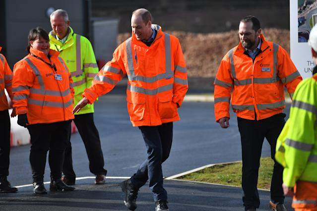 The Duke of Cambridge (centre) admiring the work at the park. (Press Association)