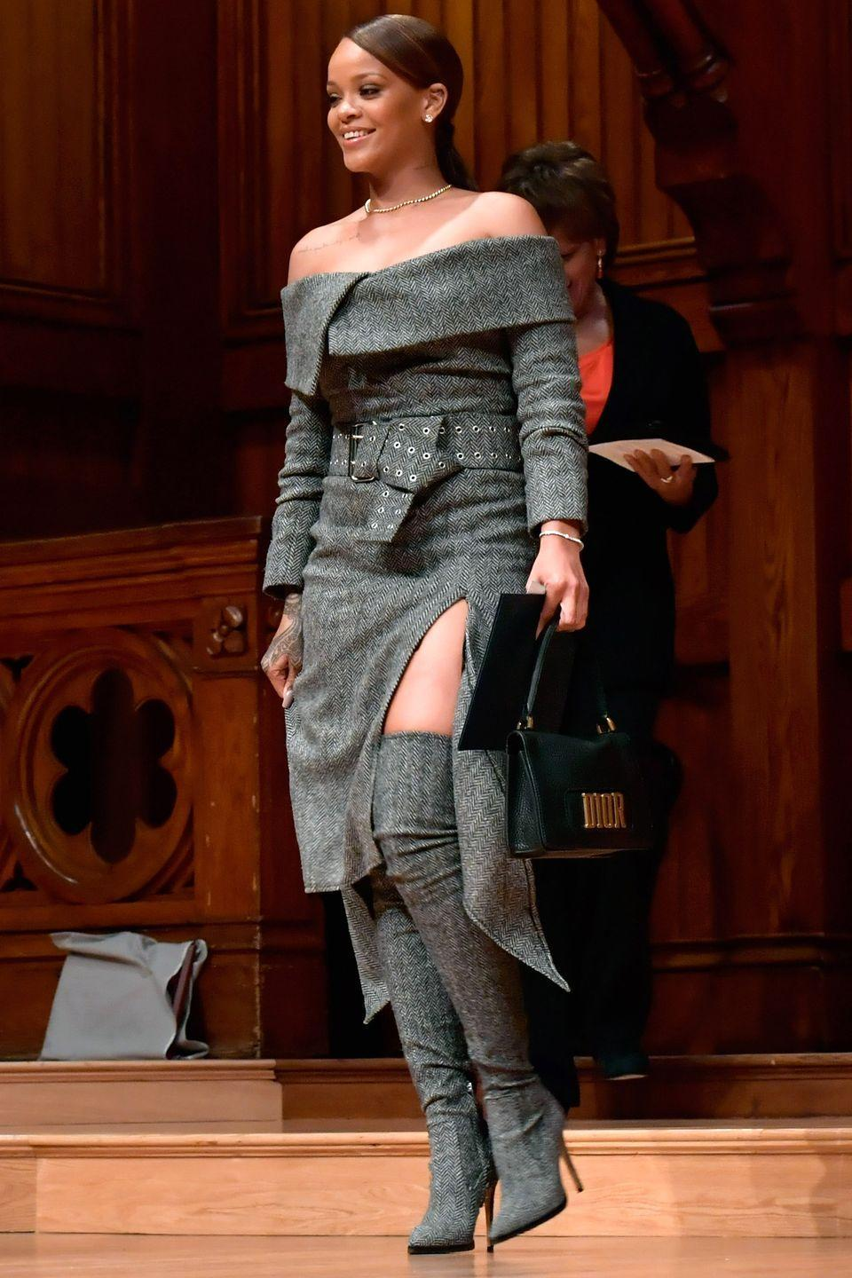 <p>In a Monse tweed dress, over-the-knee boots and Dior bag while receiving the 2017 Harvard University Humanitarian of the Year Award.</p>