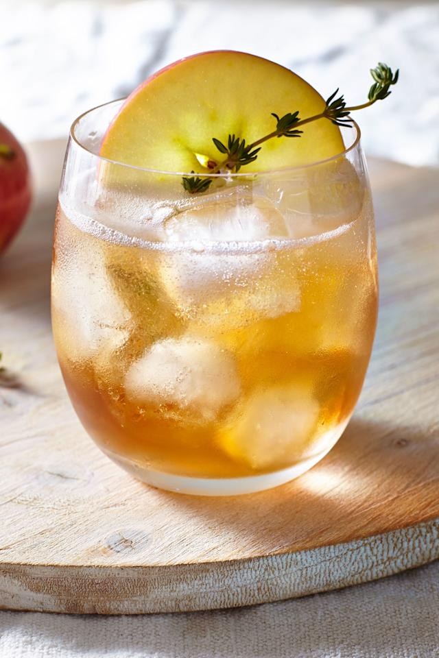 """<p><b>Recipe: <a href=""""https://www.southernliving.com/recipes/bourbon-apple-cider-thyme-punch-recipe"""">Bourbon Apple Cider Thyme Punch</a></b></p> <p>A great drink to make for fall when the weather is still warm.</p>"""