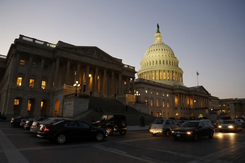 Night falls over U.S. Capitol Dome, as members of Republican-controlled U.S. House of Representatives deal with budget showdown with Democratic-controlled U.S. Senate, and possible government shutdown in Washington