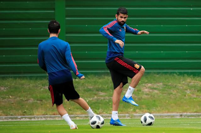 Soccer Football - World Cup - Spain Training - Spain Training Camp, Kaliningrad, Russia - June 24, 2018 Spain's Diego Costa during training REUTERS/Gonzalo Fuentes