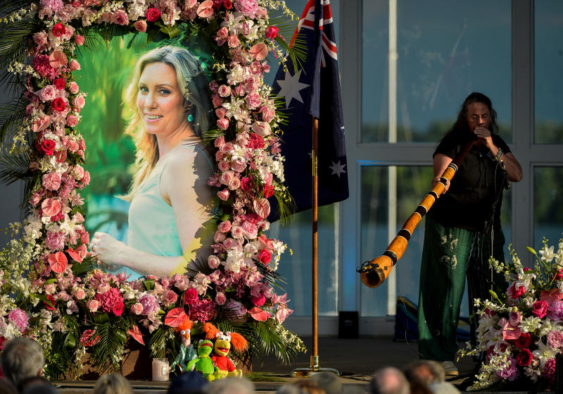 A photo of Justine Ruszczyk Damond is displayed during a memorial service in 2017. Source: AAP