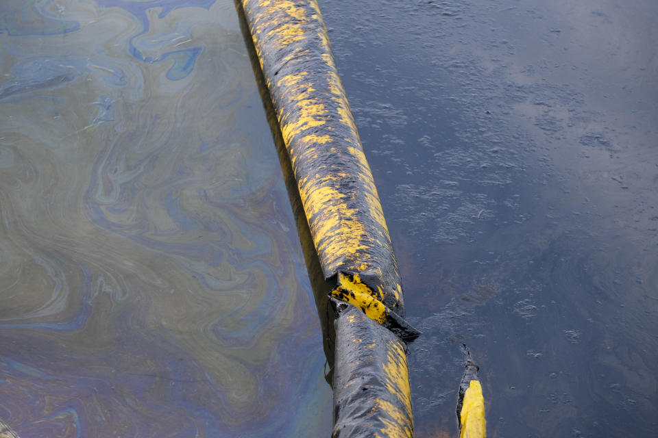 Oil floats in the water surface in the Wetlands Talbert Marsh after an oil spill in Huntington Beach, Calif., on Monday, Oct. 4, 2021. A major oil spill off the coast of Southern California fouled popular beaches and killed wildlife while crews scrambled Sunday, to contain the crude before it spread further into protected wetlands. (AP Photo/Ringo H.W. Chiu)