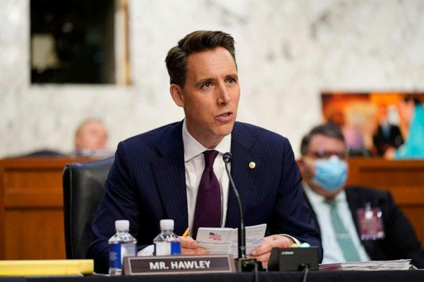 PHOTO: Sen. Josh Hawley speaks as Supreme Court nominee Judge Amy Coney Barrett testifies before the Senate Judiciary Committee on the second day of her confirmation hearing on Capitol Hill, Oct. 13, 2020 in Washington, DC. (Patrick Semansky/Getty Images)
