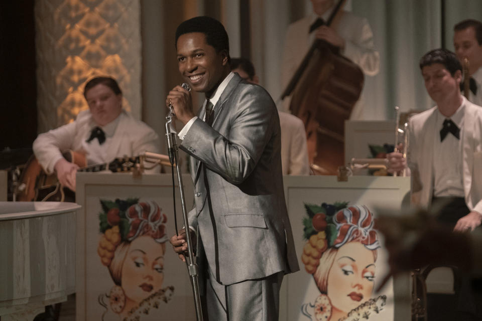 "This image released by Amazon Studios shows Leslie Odom Jr. in a scene from ""One Night in Miami."" (Patti Perret/Amazon Studios via AP)"