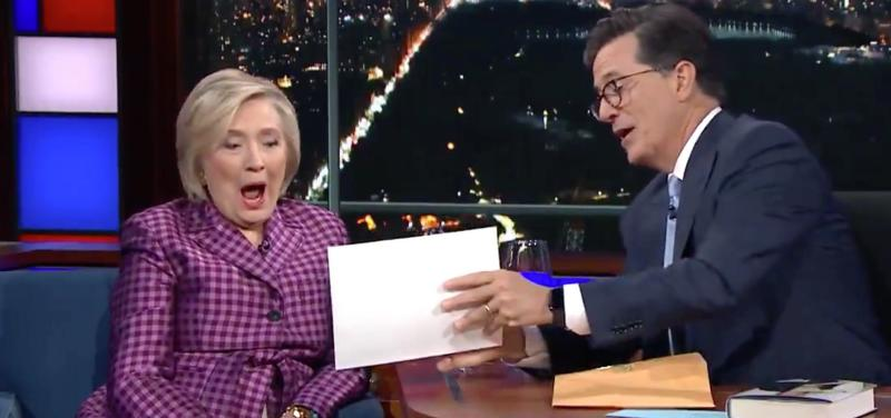 Hillary Clinton sees an unused gag from Stephen Colbert's election night coverage.