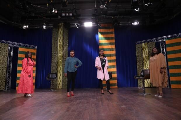 (From left) Amarachi Ejike, Oge Anu, Tanwa Adanlawo and Folake Shobamowo how Regina Access TV show AnotherView. They hope the show helps other newcomers.  (Matt Duguid/CBC - image credit)