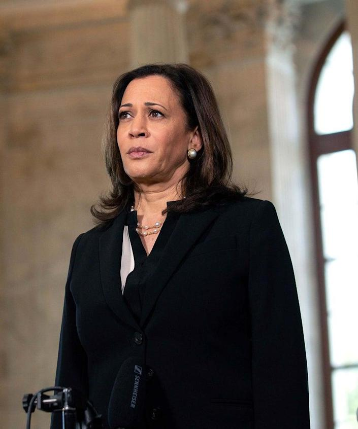 Mandatory Credit: Photo by Shutterstock (10690168f) United States Senator Kamala Harris (Democrat of California) speaks during a television interview at the United States Capitol in Washington D.C., U.S.,. United States Senator Kamala Harris (Democrat of California) Television Interview, Washington, District of Columbia, USA – 24 Jun 2020