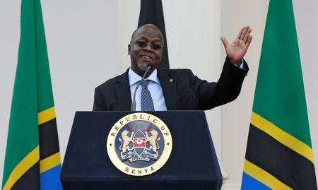 Tanzania's President Magufuli addresses a news conference during his official visit to Nairobi