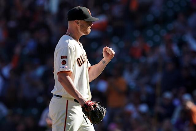 "Sep 15, 2019; San Francisco, CA, USA; <a class=""link rapid-noclick-resp"" href=""/mlb/teams/san-francisco/"" data-ylk=""slk:San Francisco Giants"">San Francisco Giants</a> relief pitcher <a class=""link rapid-noclick-resp"" href=""/mlb/players/10642/"" data-ylk=""slk:Will Smith"">Will Smith</a> (13) reacts after the final out of the game against the <a class=""link rapid-noclick-resp"" href=""/mlb/teams/miami/"" data-ylk=""slk:Miami Marlins"">Miami Marlins</a> at Oracle Park. Mandatory Credit: Darren Yamashita-USA TODAY Sports"