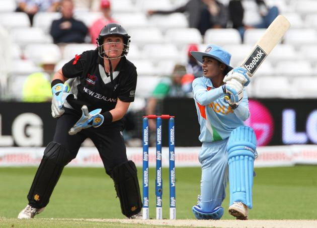 Mithali Raj of India hits out watched by Rachel Priest of New Zealand during the ICC Women's World Twenty20 Semi Final between India and New Zealand at Trent Bridge on June 18, 2009 in Nottingham, England.  (Photo by Hamish Blair/Getty Images) *** Local Caption *** Mithali Raj;Rachel Priest