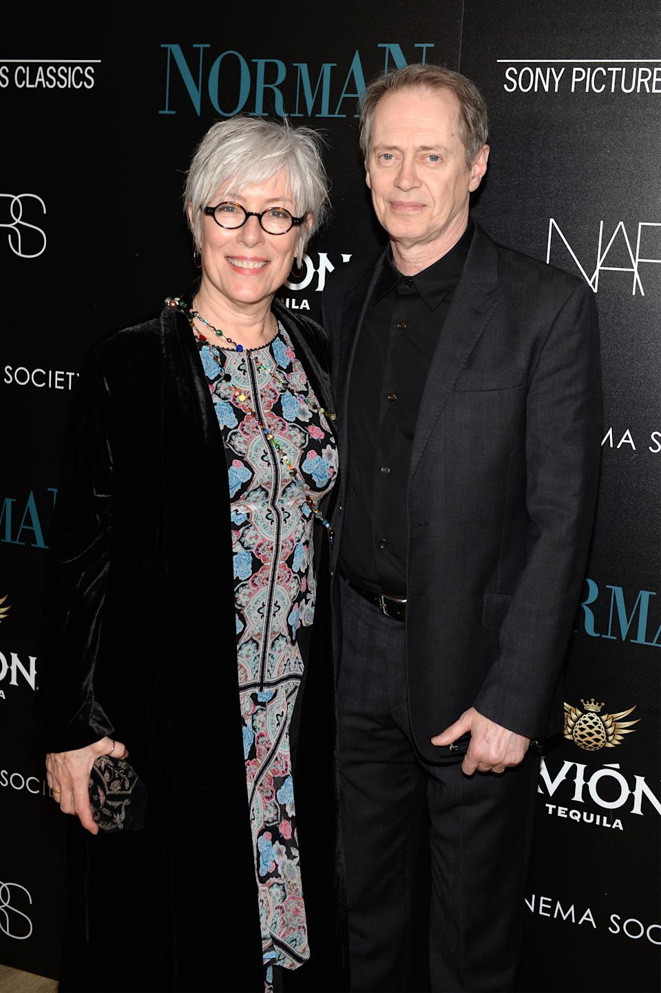 "NEW YORK, NY - APRIL 12:  Jo Andres and Steve Buscemi attend a screening of Sony Pictures Classics' ""Norman"" hosted by The Cinema Society with NARS & AVION at the Whitby Hotel on April 12, 2017 in New York City.  (Photo by Andrew Toth/FilmMagic)"