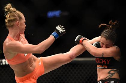 Holly Holm kicks Raquel Pennington during UFC 184 in February. (Getty Images)