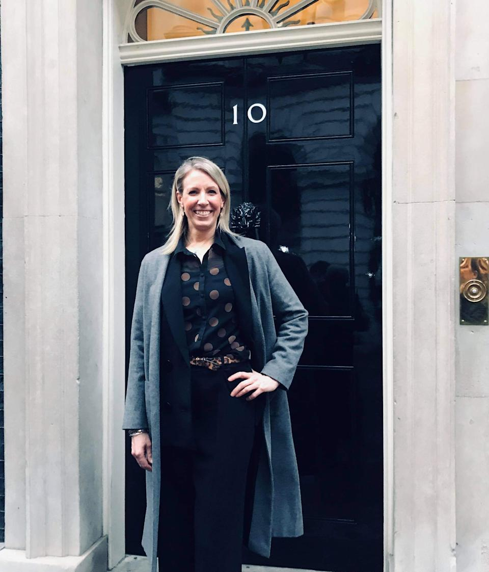 Anna Price at 10 Downing Street, where she met with the small business team, as the founder of Rural Business Group. (Supplied, Anna Price)