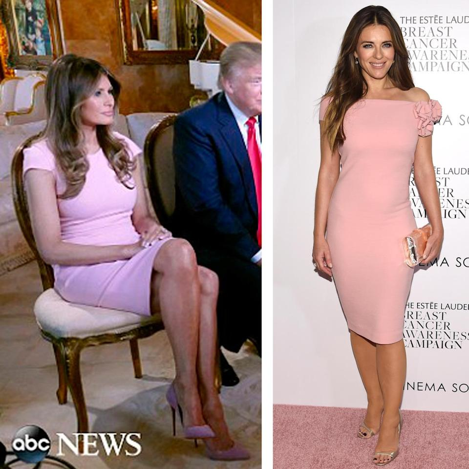 <p>And not that Trump wasn't saying crazy s**t, but we were very distracted by Melania's resemblance to Liz Hurley, which prompted an investigation into just how often they are the same person. <i>Photos: ABC/Getty</i><br></p>