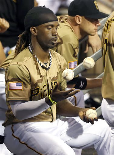 Pittsburgh Pirates' Andrew McCutchen juggles baseballs as he sits in the dugout as his team bats in the fifth inning of a game against the Houston Astros, Saturday, May 18, 2013, in Pittsburgh. (AP Photo/Keith Srakocic)