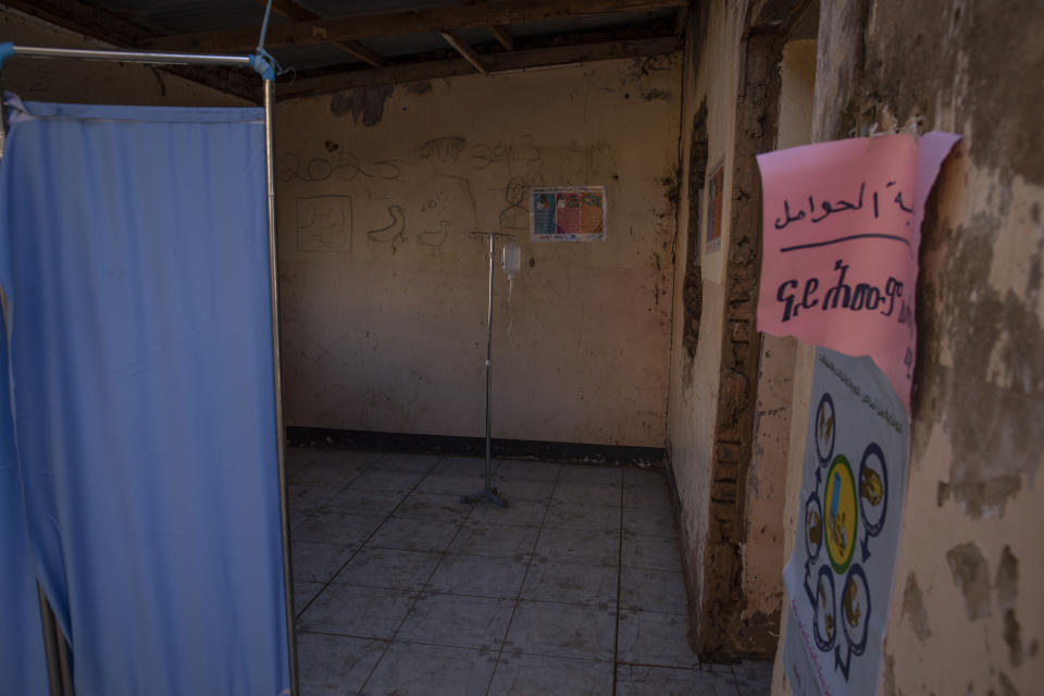A clinic where Tigray refugees who fled the conflict in Ethiopia's Tigray region, get treated at Umm Rakouba refugee camp in Qadarif, eastern Sudan, Tuesday, Nov. 24, 2020. (AP Photo/Nariman El-Mofty)