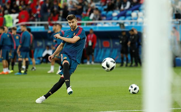Soccer Football - World Cup - Group B - Spain vs Morocco - Kaliningrad Stadium, Kaliningrad, Russia - June 25, 2018 Spain's Gerard Pique during the warm up before the match REUTERS/Christian Hartmann