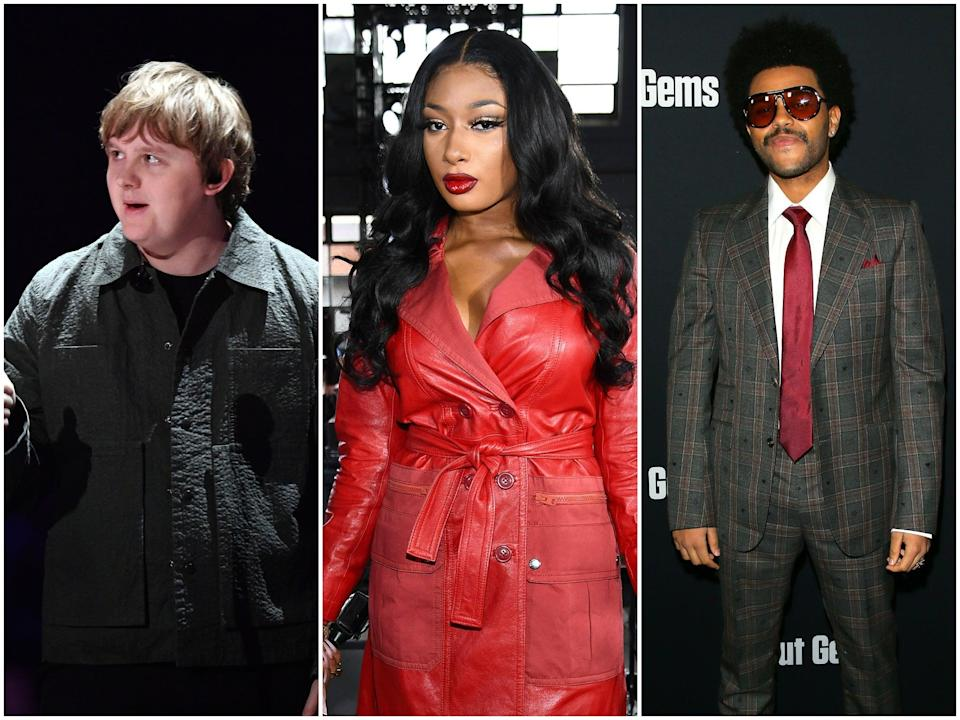 From L-R: Lewis Capaldi, Megan Thee Stallion and The Weeknd were among the nominees for the 2020 American Music Awards (Getty Images)