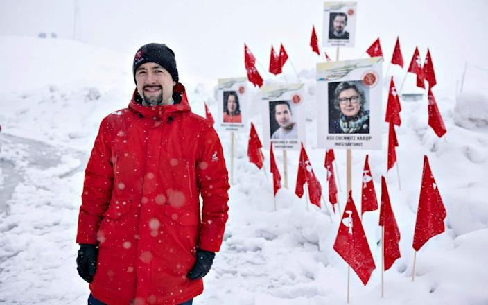 The chairman of the Inuit Ataqatigiit party, Mute Egede in Greenland's capital Nuuk, on April 6, 2021 - AFP