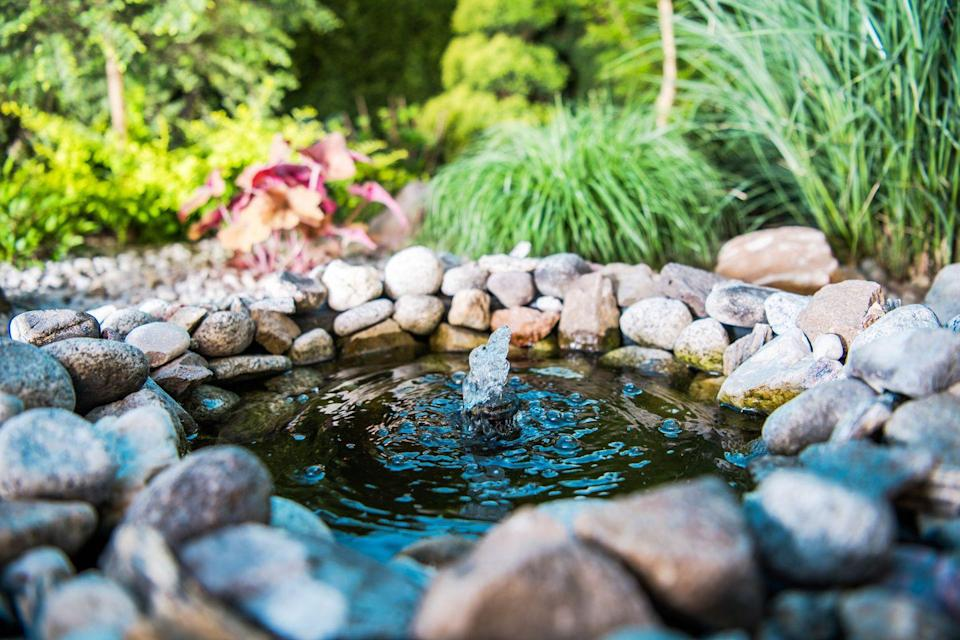 """<p>Another great way to attract wildlife to your garden is with a pond – and it won't cost much at all. Simply collect pebbles and stones, dig a hole in the garden, protect the bottom with a pond liner and hide it using the pebbles and rocks. Then fill with water to create a pond. </p><p><strong>READ MORE: <a href=""""https://www.housebeautiful.com/uk/garden/designs/a28656907/create-garden-pond/"""" rel=""""nofollow noopener"""" target=""""_blank"""" data-ylk=""""slk:8 steps to creating your own garden pond"""" class=""""link rapid-noclick-resp"""">8 steps to creating your own garden pond</a></strong> </p>"""
