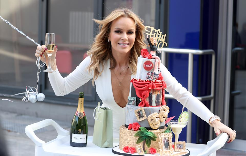 LONDON, ENGLAND - FEBRUARY 12: Amanda Holden celebrates her 50th birthday outside the Global Radio Studios on February 12, 2021 in London, England. (Photo by Mike Marsland/WireImage)