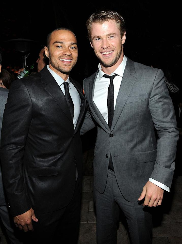 """Grey's Anatomy's"" Jesse Williams and ""Thor's"" Chris Hemsworth made for a very handsome pair at the stylish event. Michael Buckner/<a href=""http://www.gettyimages.com/"" target=""new"">GettyImages.com</a> - November 17, 2010"