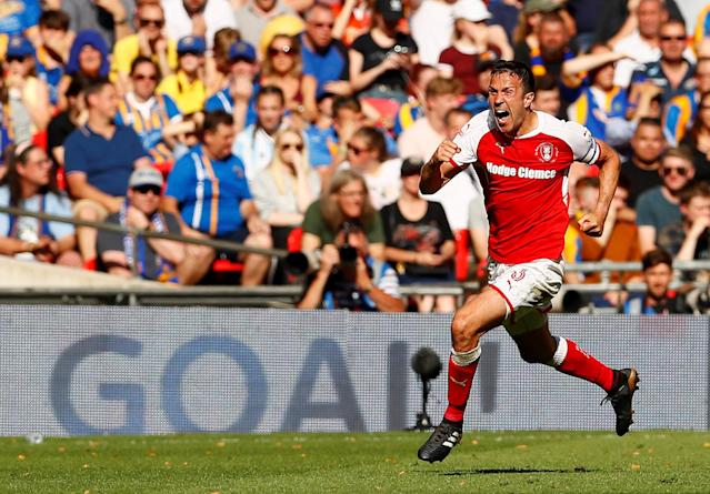 "Soccer Football - League One Play-Off Final - Rotherham United v Shrewsbury Town - Wembley Stadium, London, Britain - May 27, 2018 Rotherham's Richard Wood celebrates scoring their second goal Action Images/Jason Cairnduff EDITORIAL USE ONLY. No use with unauthorized audio, video, data, fixture lists, club/league logos or ""live"" services. Online in-match use limited to 75 images, no video emulation. No use in betting, games or single club/league/player publications. Please contact your account representative for further details."