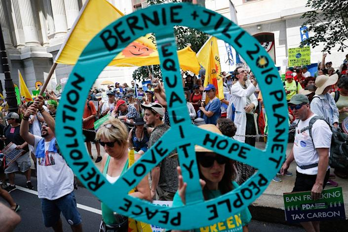 <p>Supporters of Sen. Bernie Sanders, I-Vt., march during a protest in downtown on Sunday, July 24, 2016, in Philadelphia. The Democratic National Convention starts Monday in Philadelphia. (AP Photo/John Minchillo)</p>
