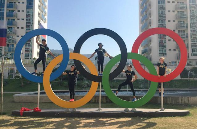 """<p>Simone Biles captioned this essential Olympic rings squad photo with a simple """"TEAM USA."""" (@Simone_Biles/Twitter) </p>"""