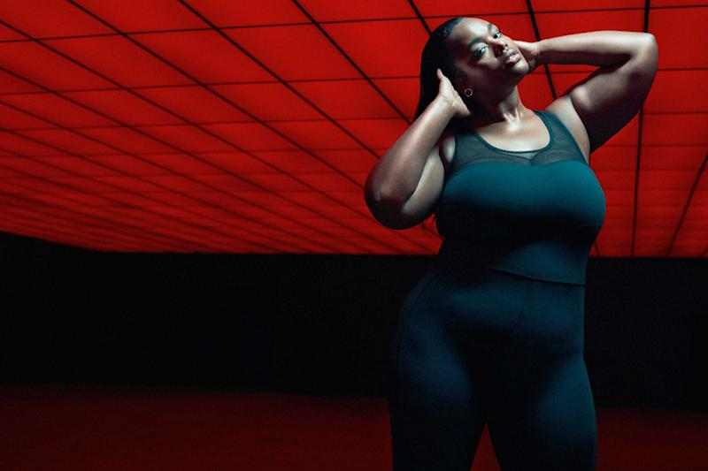 Plus-size model Precious Lee in the new Good American performance wear campaign. (Photo: courtesy of Good American)
