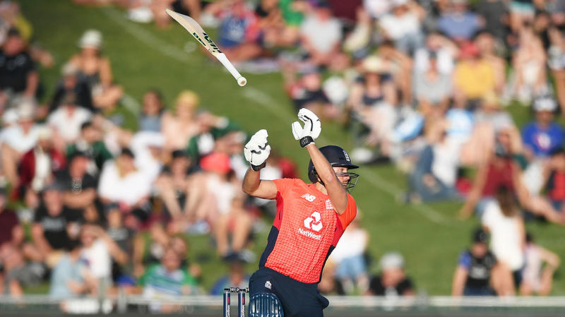 Dawid Malan drops his bat as he plays a shot during game four of the Twenty20 International series between New Zealand and England. (Photo by Kerry Marshall/Getty Images)
