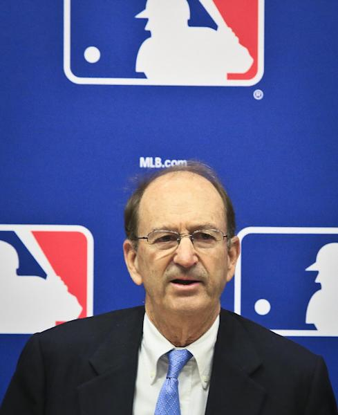 St. Louis Cardinals chairman Bill DeWitt speaks during a press conference, Thursday, May 15, 2014 at Major League Baseball headquarters in New York. DeWitt was appointed chairman of a succession committee to determine the process for replacing Commissioner Bud Selig, who has headed baseball since 1992 and plans to retire in January 2015. (AP Photo/Bebeto Matthews)