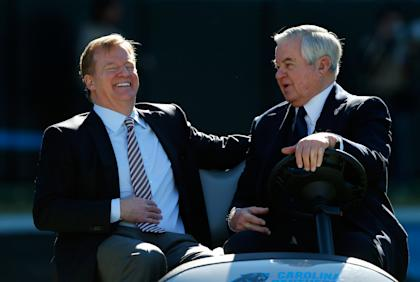 Jerry Richardson (R), with commish Roger Goodell, defended his team on Wednesday. (Getty Images)
