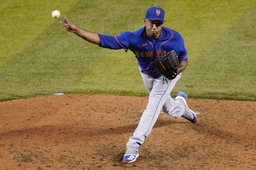 New York Mets relief pitcher Edwin Diaz throws during the ninth inning of a baseball game against the Miami Marlins, Tuesday, Aug. 18, 2020, in Miami. The Mets won 8-3. (AP Photo/Lynne Sladky)
