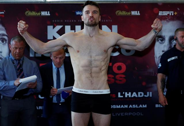 Boxing - Ryan Toms & Anthony Fowler Weigh-In - Hilton Hotel, Liverpool, Britain - April 20, 2018 Anthony Fowler during the weigh in Action Images via Reuters/Andrew Couldridge