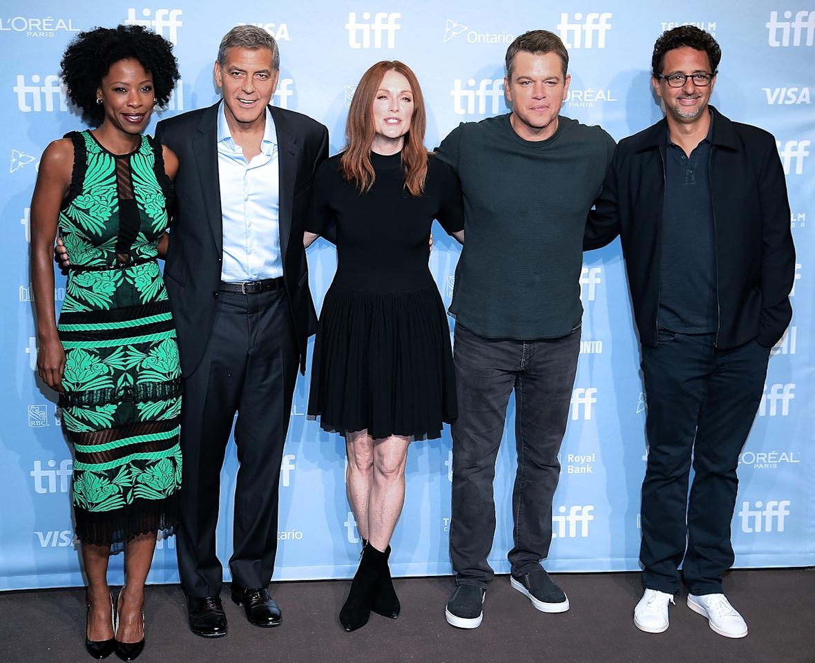 """<p>(From left to right) Karimah Westbrook, writer/director/producer <a rel=""""nofollow"""" href=""""https://www.yahoo.com/movies/tagged/george-clooney"""">George Clooney,</a> <a rel=""""nofollow"""" href=""""https://www.yahoo.com/movies/tagged/julianne-moore"""">Julianne Moore</a>, <a rel=""""nofollow"""" href=""""https://www.yahoo.com/movies/tagged/matt-damon"""">Matt Damon</a>, and writer/producer Grant Heslov at the <a rel=""""nofollow"""" href=""""https://www.yahoo.com/movies/tagged/toronto-film-festival"""">2017 Toronto International Film Festival</a> for <a rel=""""nofollow"""" href=""""https://www.yahoo.com/movies/film/suburbicon""""><em>Suburbicon</em></a>, on Sept. 10 (Photo: Isaiah Trickey/Getty Images)<br /><br /></p>"""
