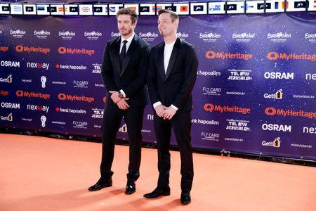"Contestants Darude and Sebastian Rejman of Finland pose on the ""Orange Carpet"" during the opening ceremony of the 2019 Eurovision Song Contest in Tel Aviv, Israel May 12, 2019. REUTERS/Amir Cohen"