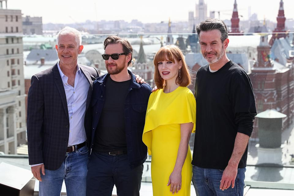 MOSCOW, RUSSIA - MAY 20, 2019: American producer Hutch Parker, actors James McAvoy, Jessica Chastain, director and screenwriter Simon Kinberg (L-R) promoting their new film Dark Phoenix, poses during a photocall atop the Ritz Carlton Hotel. Stanislav Krasilnikov/TASS (Photo by Stanislav Krasilnikov\TASS via Getty Images)