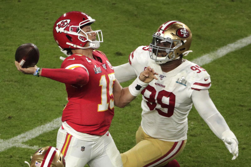 Quarterback Patrick Mahomes (15) and the Kansas City Chiefs will likely be a part of the NFL's regular-season opener, but the date could change. (AP Photo/Charlie Riedel)
