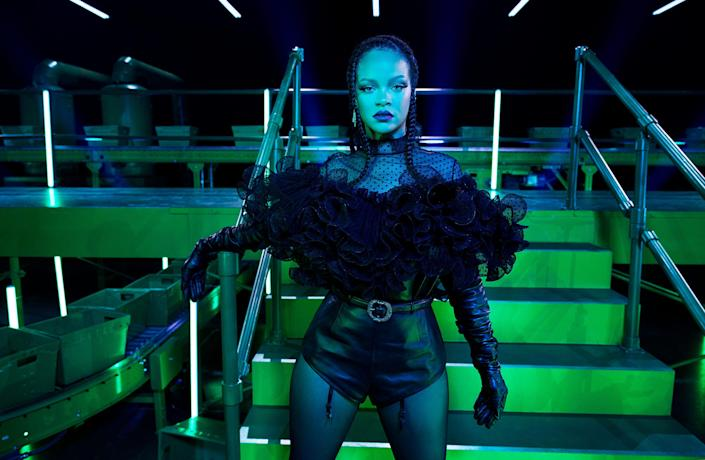 Rihanna serves as a model for her lingerie label's latest fashion show, available for viewing Friday on Amazon Prime Video.